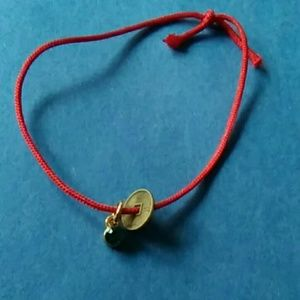 Red string lucky coin green crystal bracelet